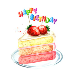 Strawberry cake birthday composition. Watercolor hand drawn illustration, isolated on white background