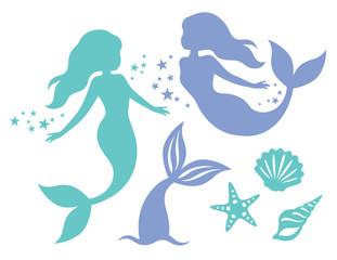 Silhouette of swimming mermaids, mermaid tail, shells and starfish vector illustration.