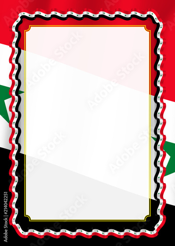 Template Syria | Frame And Border Of Ribbon With Syria Flag Template Elements For