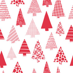 Christmas trees modern vector seamless pattern. Red Christmas tree silhouettes on a white background. Perfect for Christmas cards, gift wrap, fabric, and packaging.