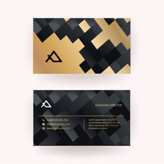 Luxury business card with marble background and modern texture  vector template