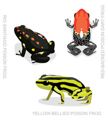Red-Backed Poison Dart Frog Set Cartoon Vector Illustration