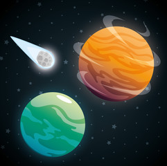 planets of the solar system scene