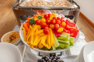 platter of crudites with hummus