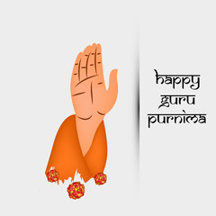 illustration of hand giving blessing with happy Guru Purnima text on the occasion of hindu festival Guru Purnima celebrated in India