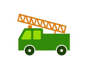 green truck vehicle conveyance transport transportation logo image vector icon
