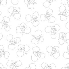 Iris Flower Outline on White Background