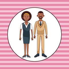 Young couple cartoon over pink striped background vector illustration graphic design
