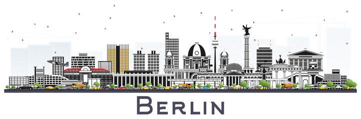 Berlin Germany Skyline with Gray Buildings Isolated on White