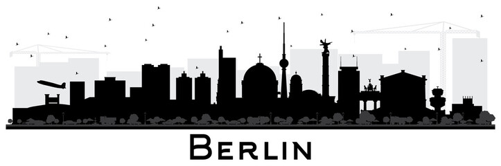 Berlin Germany Skyline Silhouette with Black Buildings Isolated on White.