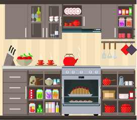 Kitchen interior. Set of kitchen furniture, dishes and products. Vector illustration.