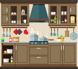 Kitchen with a set of furniture. The cozy interior of the room with a stove, wardrobe and utensils. Flat style vector illustration.