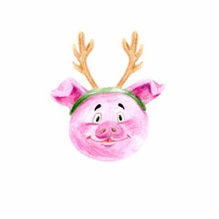 Watercolor piggy. Symbol of the year 2019. it can be used as a poster, Christmas card, invitation and t-shirt printing.