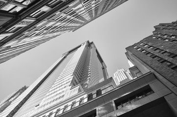 Looking up at New York buildings, Manhattan, USA.