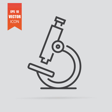 Microscope icon in flat style isolated on grey background.
