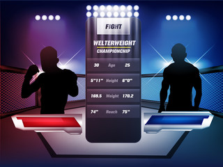 Empty Cage and battle martial arts fighting arena stage with red and blue white lighting:mma