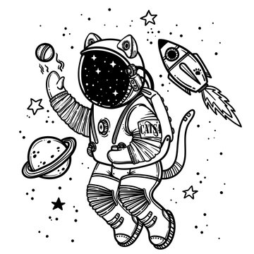 Vector illustration. Cat astronaut soaring in space. Comic style illustration.