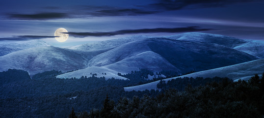 beautiful mountainous background at night