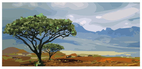 Wall Murals Dark grey Africa landscape Savannah artwork vector