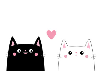Black white cat head face. Love couple. Pink heart. Cute cartoon pet animals. Kitten kitty character. Dash line. Happy Valentines Day. T-shirt design. Baby background. Isolated. Flat design