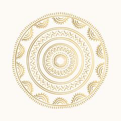 Golden oriental motifs. Hand drawn mandala design. Vector isolated ornament.