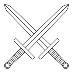 Crossed Swords Icon on White Background for Your Design or Logo. Vector Illustration. Outline Style.