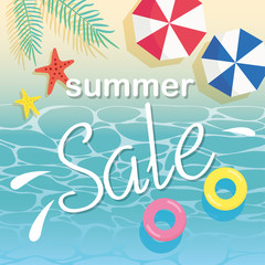 Summer sale and beach illustration