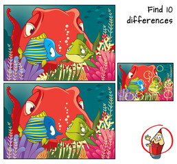 A couple of funny fish and octopus. Find 10 differences. Educational game for children. Cartoon vector illustration