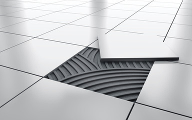 White glossy ceramic tile floor repair. background. 3d rendering