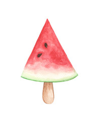 Watermelon slice popsicle, Watermelon with wood stick isolated on white background. Watermelon ice cream popsicle. Watercolor illustration