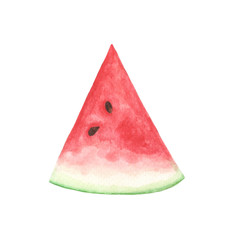Slice of watermelon isolated on white background. Watercolor illustration.
