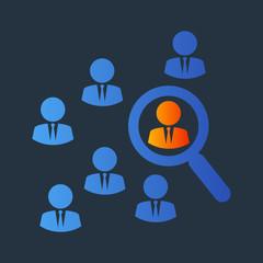 Icono plano busqueda en grupo en azul y naranja en fondo gris