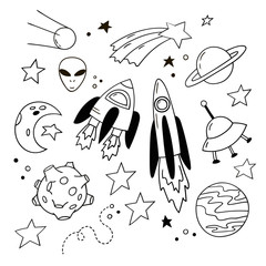 Set of lovely doodle icons. Hand-drawn rockets, planets and other cosmic elements. Black and white vector clipart.