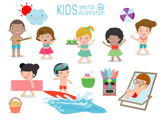set of Kids having fun on the beach, children play on the beach,Child dancing on the beach, vector illustration