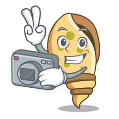 Photographer sea shell mascot cartoon