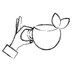 hand with tea cup