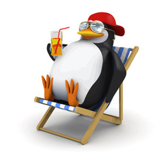 Vector 3d Penguin relaxes in deckchair