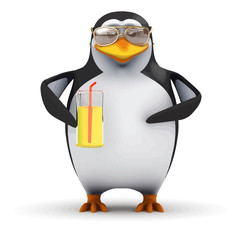 Vector 3d Funny cartoon penguin is drinking a nice cold glass of orange juice