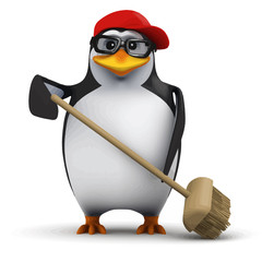 Vector 3d Funny cartoon penguin in a baseball cap is sweeping up with a broom