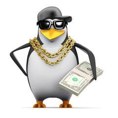 Vector 3d Rapper penguin holds US Dollars