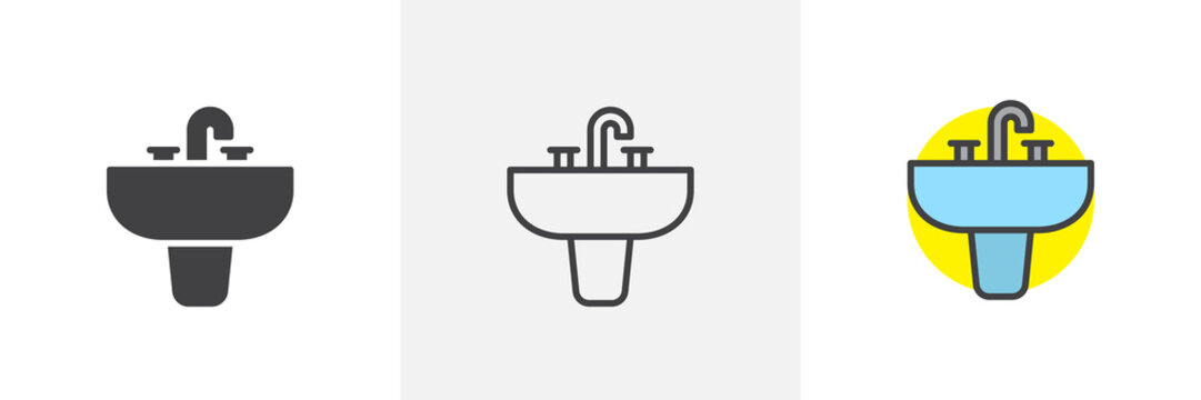 Sink unit icon. Line, solid and filled outline colorful version, outline and filled vector sign. Washbasin symbol, logo illustration. Different style icons set