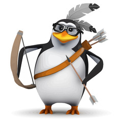Vector 3d Native American penguin has bow and arrow