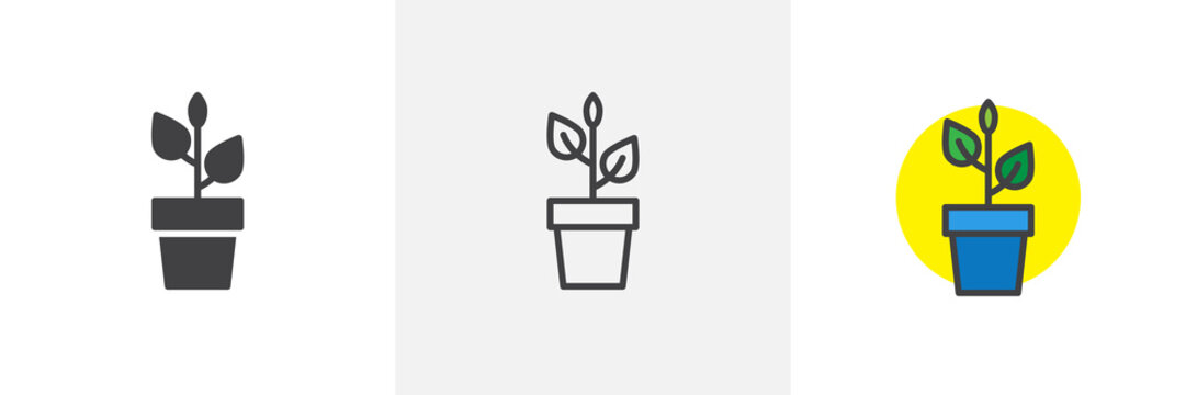 Plant in flower pot icon. Line, solid and filled outline colorful version, outline and filled vector sign. Home plant symbol, logo illustration. Different style icons set. Pixel perfect vector