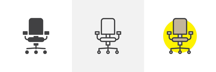 Office chair icon. Line, solid and filled outline colorful version, outline and filled vector sign. Symbol, logo illustration. Different style icons set. Pixel perfect vector graphics