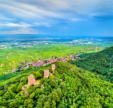 The Three Castles of Eguisheim or Husseren-les-Chateaux in the Haut-Rhin department of France