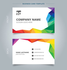 Business name card template design abstract colorful low polygon style on white background.