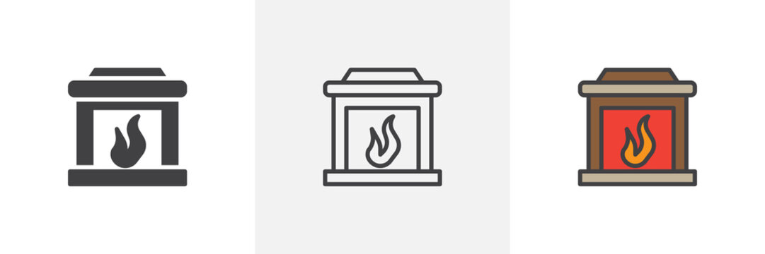 Fireplace icon. Line, solid and filled outline colorful version, outline and filled vector sign. Mantelpiece symbol, logo illustration. Different style icons set. Pixel perfect vector graphics