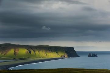 Reynisdrangar basalt sea stacks at Vik i Myrdal, South Coast, Iceland, Europe