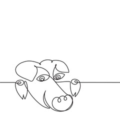Happy pig. Snout. Drawing by a continuous line.