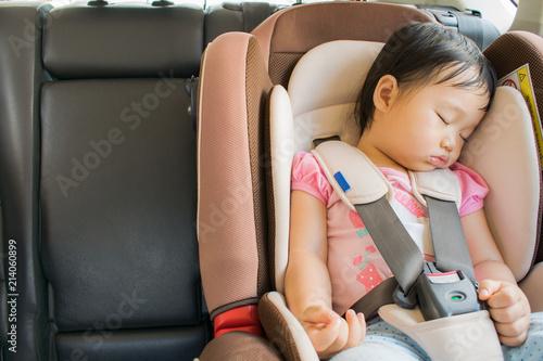 Toddler Girl Sleeping In Her Car Seat